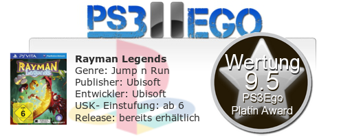 Rayman Legends Review Bewertung 9.5 Review: Rayman Legends   Der Jump & Run Kracher bei uns im PS Vita Test