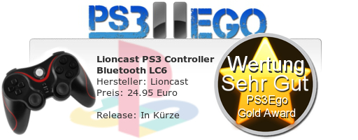Lioncast PS3 Controller Bluetooth LC6 Review Bewertung Sehr Gut Lioncast PS3 Controller Bluetooth LC6 im Test